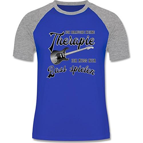 Shirtracer Instrumente - Ich Brauche Keine Therapie Ich muss Nur Bass Spielen - Herren Baseball Shirt Royalblau/Grau meliert