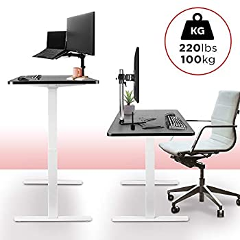 Duronic Sit Stand Desk Frame TM22 WE | Electric Standing Office Table | Height Adjustable 71-116cm | Ergonomic Workstation | WHITE | Memory Function | Dual Motor / 2 Stage