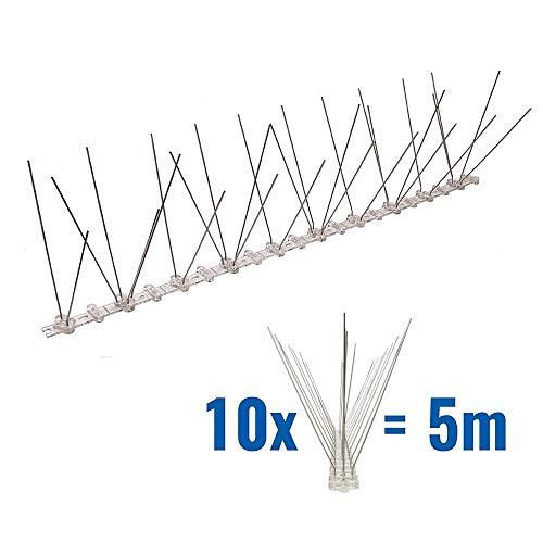 Pestsystems 5 Meter Taubenspikes 2-reihig auf Polycarbonat - hochwertige Lösung für Vogelabwehr Taubenabwehr Spikes
