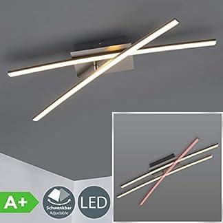 Plafoniera LED da soffitto, LED integrati luce calda 3000K, 1200Lm, lungo 58.5cm, Lampadario moderno minimalista per illuminazione da interno, camera da letto soggiorno cucina, color nickel opaco IP20
