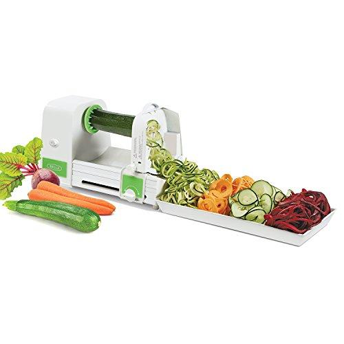 Bella électrique automatique Coupe-légumes spirale, 4 lames électrique Spiralizer Coupe-légumes, Veggie Zoodle Maker/bouclés Fry Cutter