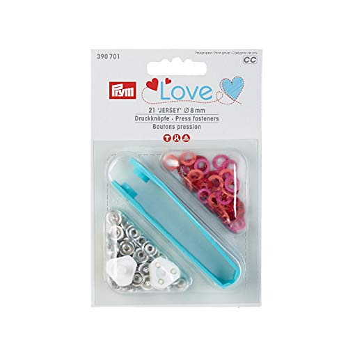 Prym Love Druckknopf Jersey Color MS 8 mm rot, Messing, 9 mm
