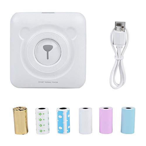 Mini-Thermodrucker, drahtloser mobiler Bluetooth-Taschenbelegdrucker, tragbarer mobiler Sofortdrucker Thermodrucker für Studenten/Büros, kompatibel mit iOS + Android(Weiß)