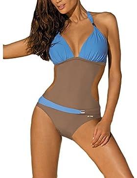 DELEY Mujeres Color Bloque Collar Cuello Halter Bikini Brasileño Vacaciones Traje De Baño Monokini Ropa De Baño...