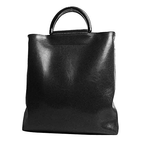 Leathario Borsa donna pelle vera tracolla nero spalla eleganti lavoro vintage cuoio fashion borsone sacca shopping weekend nero