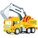 AdiChai Multi Coloured Friction Powered Excavator Construction Truck Toy with Light and Sound for Kids