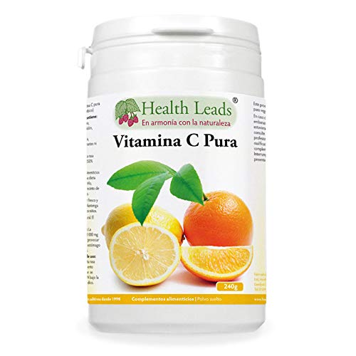 Polvo de vitamina C pura (ácido ascórbico)   Contribuye a mantener el funcionamiento normal del sistema inmunitario   Piel y dientes más sanos   Vegano, sin OMGs y libre de gluten   1 x 240 g