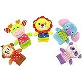 YeahiBaby 5pcs suave animal de dibujos wild animados dedo marioneta bebé felpa marioneta juguetes para la educación temprana