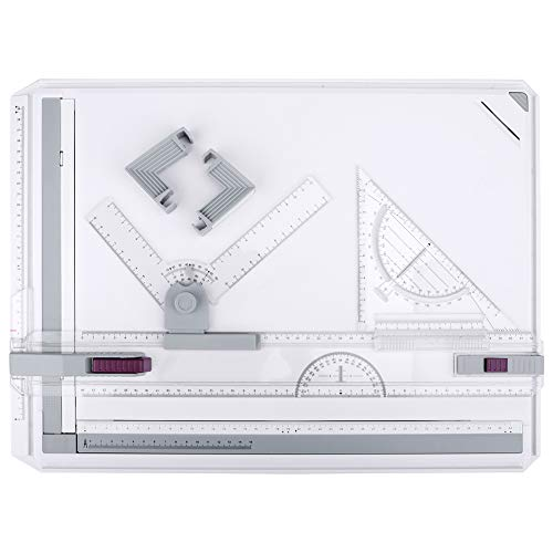 HandsEase Drawing Board, A3 Drawing Table Board Multi-Funtion Graphic Architectural Adjustable Measuring System Drawing Tool Set with Parallel Motion Accessories