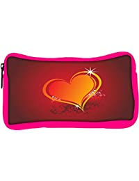 Snoogg Eco Friendly Canvas Beautiful Shining Heart With Floral And Grunge Elements Student Pen Pencil Case Coin...