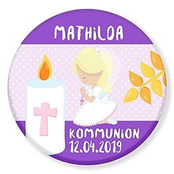 Polarkind großer Kühlschrankmagnet Geschenk zur heiligen Kommunion Mädchen Firmung mit Wunschname Wunschdatum 59mm handmade individualisierbarer Magnet