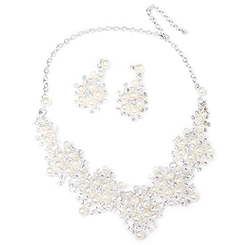 Nupcial Collar Pendiente Aretes Perlas Deco Boda Fiesta Prom Favor Joy