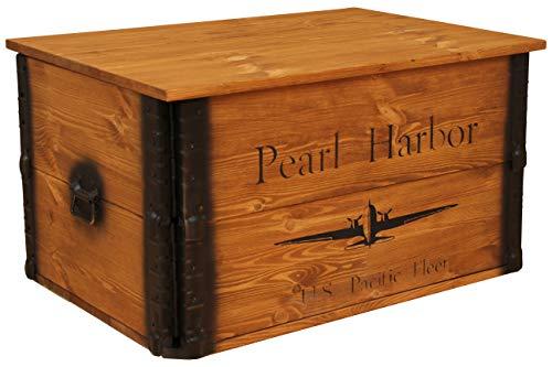 'Uncle Joe S 75755 Coffre Table Basse boîte en Bois Pearl Harbor, Vintage, Shabby Chic Bois 80 x 55 x 44 cm Marron Clair