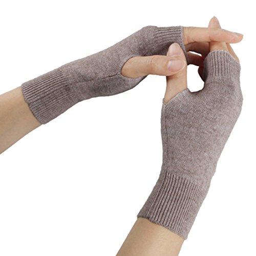 Larcele Kaschmir Handschuhe Fingerlose Fäustlinge Handwärmer für Damen BZST-02 (Licht Khaki)