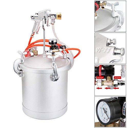 YUEWO 15L NEU Edelstahl hohe Druck Topf & Spray Gun w/2,5Cal Caliber Air Paint Tank Spritze System Komplett Kits für bunte Latex Paint (Gallone Kit 0.5)