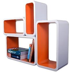 Etagères Design Rétro Mur Bibliothèque Cubes Cube Blanc & Orange LO01BO