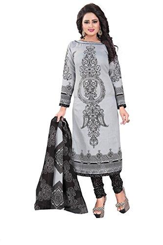Crazy Women's Cotton Unstitched Salwar Suits Dress Material (Grey Black, Free Size)