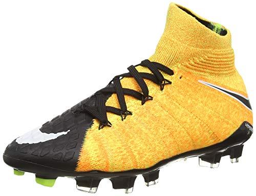 Nike Hypervenom Phantom 3 DF FG Suelo Duro Niño 37.5 Bota de fútbol - Botas de fútbol (Suelo Duro, Niño, Unisex, Suela con Tacos, Negro, Naranja, Monótono)