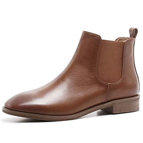 RLYAY Womens Martin Boots England Chelsea Short Boots Flache Knöchelstiefel Lässige Schuhe,Brown,35EU