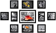 Amazon Brand - Solimo Collage Set of 11 Black Photo Frames ( 4 x 6 Inch - 2 & 5 X 5 Inch - 6, 5 X 7 inch -