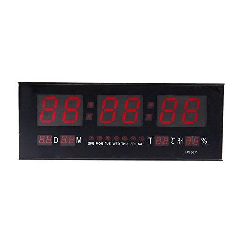Zjchao Reloj de Pared Grande Red LED Digital Alarma del Reloj Temporizador de la batería con la Temperatura...