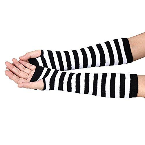 TUDUZ Unisex Winter Gestrickte Handgelenk Arm Handwärmer Strick Ärmel Hanfblumen Fingerlose Lange Handschuhe Fäustlinge für Damen Herren Weihnachten Geschenke (Weiß)