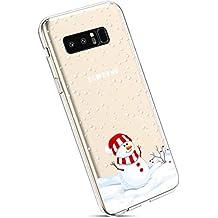 YSIMEE Fundas Samsung Galaxy Note 8 Carcasas,Xmas Navidad decoración Transparente Silicona Suave Ultra Fina Delgado Gel Bumper TPU Goma Estuches Protectora Carcasas-Monigote de nieve