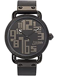 Reloj hombre–Jean Paul Gaultier–Index–acero PVD negro–pulsera cuero negro–45mm–8504404