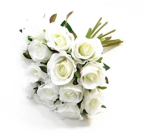 Bouquet de 15 mini roses artificielles de 25 cm couleur ivoire - Pour la maison ou le mariage