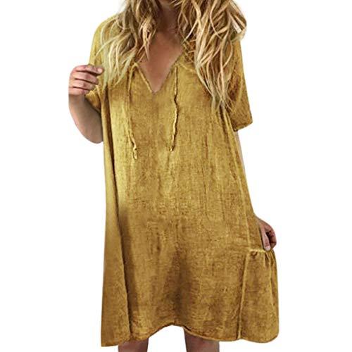 Damenrock aus Baumwolle und Leinen mit V-Ausschnitt,Zolimx Frauen Beiläufiges festes gekräuseltes Falte V-Ansatz Verband-Kurzschluss-Hülsen-loses Kleid - Falte Bogen