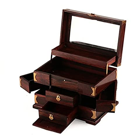 Chinese Retro Handcrafted Wooden Jewelry Box Organizer wtih 2 Slide Out Drawers-2 Side Folding Drawers-Safe Lock Keepsake Storage Chest