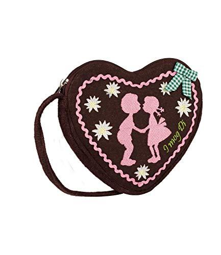 SIX Kleine Damen Oktoberfest-Handtasche, Schultertasche, Umhängetasche mit braunem Lebkuchen-Herz, rosa Stickerei, Schleife (427-426)