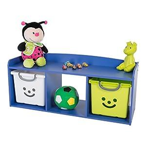 IRIS, Kindersitzbank 'Kids Bench' mit Stauraum / Aufbewahrung, Holz, blau, 101,4 x 34 x 43,4 cm