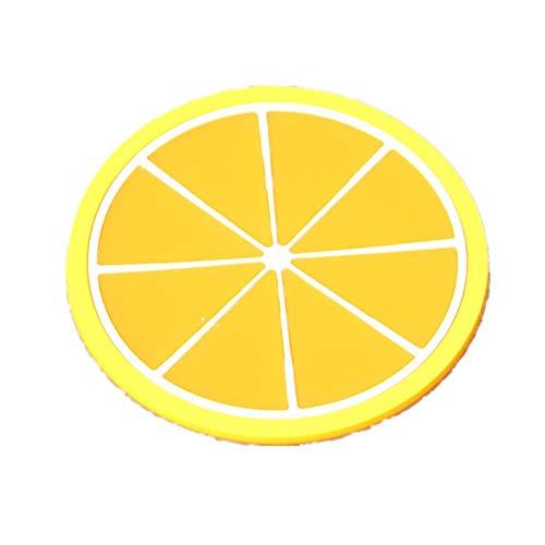 7per Silikon-Untersetzer, 7 Früchte Stil. Durchmesser: 9cm Zitrone 9cm
