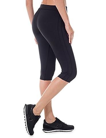 SYROKAN Damen Sports Leggings - Capri Tights Laufhose Sportshose Schwarz 38 ( S ) (Compression Capri Tights)