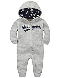Kasonj Pigiama in cotone per bebè Salopette per bambini 0-12 mesi  Pagliaccetti per bambini Ragazzi e ragazze Tute Abbigliamento invernale per… b5c09290f42e