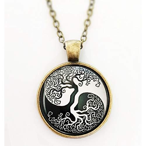 Yin & Yang Damen Halskette mit Anhänger Lebensbaum bronze 60cm Kette schwarz weiß handmade Schmuckphantasien rund Glas-Cabochon 25mm Baum des Lebens vintage -