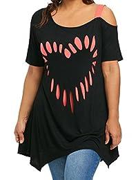 OHQ Camiseta Tops Mujer Las SeñOras De Gran TamañO Aman La ImpresióN De La Manga del Hombro De Manga Corta Camisa De Mujer…