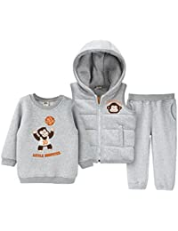 3 Piezas Bebé Sudadera + Pantalones + Chaleco con capucha Niños Niñas Chándales Ropa Deportiva Algodón Conjuntos Vine