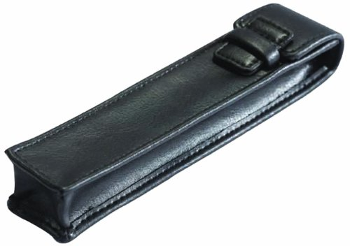 Leather Pen Case finished in soft black nappa leather with a full natural grain