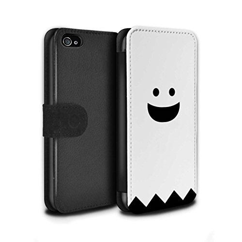 Stuff4® PU-Leder Hülle/Case/Tasche/Cover für Apple iPhone 4/4S / Geist Muster/Halloween Zeichen Kollektion