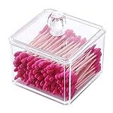 PuTwo Make-up Organizer Badezimmer Storage Wattestäbchen Spender Wattestäbchen Halter mit Deckel–quadratisch