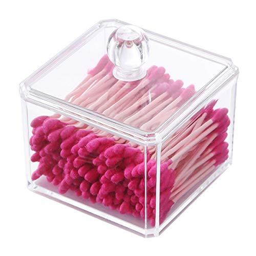 PuTwo maquillaje organizador baño almacenamiento dispensador de bastoncillos de algodón bastoncillos soporte con tapa–cuadrado