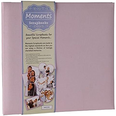 Moments Scrapbooks PSB10PC - Album per foto, con copertina in tessuto di cotone e pagine a inserimento in carta bianca a tinta unita Copertina protettiva in polipropilene.