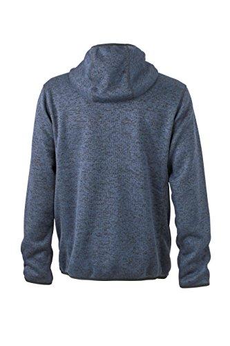 James & Nicholson Herren Sweatshirt Fleece Men's Knitted Fleece Hoody Denim-Melange/Black