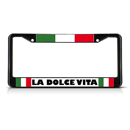 La Dolce Vita Italienische Flagge, schwarz, strapazierfähig, Metall, ideal für Männer, Frauen, Auto-Garadge Dekor
