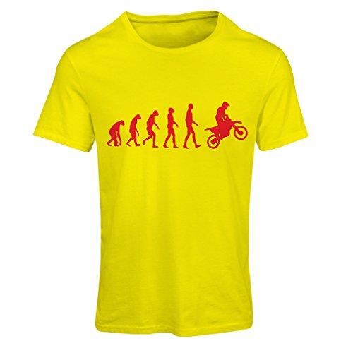 Frauen T-Shirt Motocross-Entwicklungs-Schmutz-Fahrrad, Motorrad-Gang, laufende Abnutzung, Motorrad Weg von Roading (Large Gelb Rote)