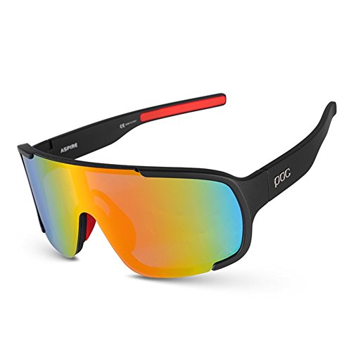 Wmyy-cycling occhiali polarizzati luce protezione uv400occhiali da sole sportivi antivento equitazione drive hd da sci pesca protezione degli occhi occhiali con 3lenti intercambiabili, 1