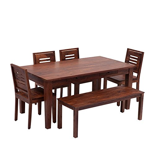 HomeEdge Giadane Six Seater Dining Set With Bench Teak HEDS013