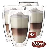 Maxxo Bicchieri a Doppia Parete Latte Macciato 4X 380 ml Tazzine con Isolamento Termico di Vetro Resistente al Calore e Freddo di Vetro Borosilicato